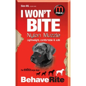 Mikki I Won'T Bite Size Nylon Muzzle For Extra Large Dogs 4XL 1pc