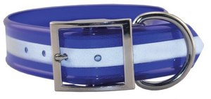 Omnipet Sunglo Blue Reflective Dog Collar With Ring 63.5cm