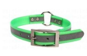 Omnipet Sunglo Neon Green Reflective Dog Collar With Ring 58.4cm