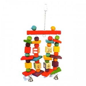 Pado Multicolor Hanging Bird Toy With Wooden Beads & Bells 1pc
