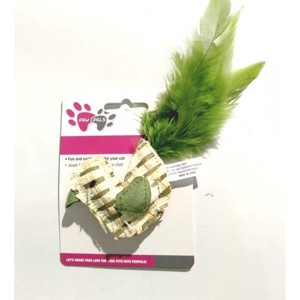 Paw Pals Green Bird Shape Cat Toy With Feathers 1pc