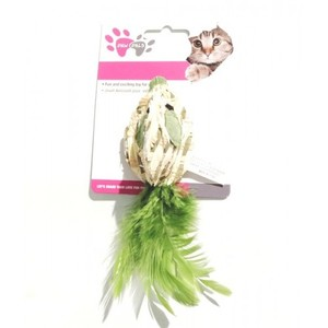 Paw Pals Green Turtle Shape Cat Toy With Feathers 1pc