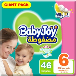 BabyJoy Compressed Diamond Pad Diaper, Giant Pack Junior XXL Size 6, 16+ Kg 46pcs