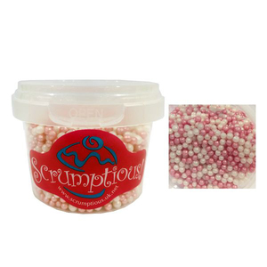 Scrumptious Sprinkles Pink and White Shimmer Pearls 1pc