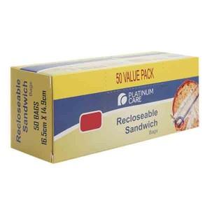 Platinum Care Recloseable Sandwich Bags 50 S 16.5Cmx14.9Cm 1pc