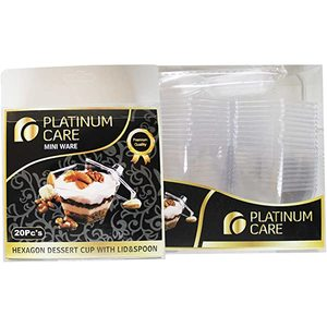 Platinum Care Hexagon Cup With Lid&Spoon 20s