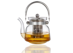 Heat Resistant Glass Teapot with Stainless Steel Handle 1200ml 1pc
