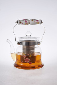 Heat Resistant Glass Teapot with Stainless Steel & Porcelain Handle 600ml 1pc