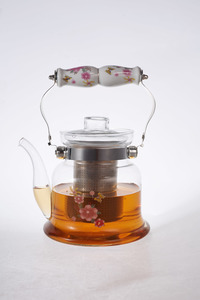 Heat Resistant Glass Teapot with Stainless Steel & Porcelain Handle 1600ml 1pc