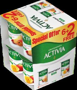 Activia Peach & Mango Yoghurt 8x120g
