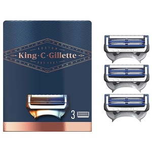 King C. Gillette Men's Neck Shaving Razor Blades, Pack of 3 Refills, with Skinguard and Gillette's Best and Sharpest Stainless Steel Platinum Coated Blades 3 refill pack