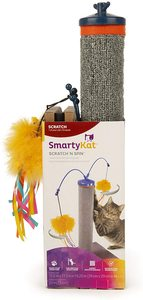 Smartykat Playful Post Cat Scratching Post With Feather Toy And Track Ball 1pc