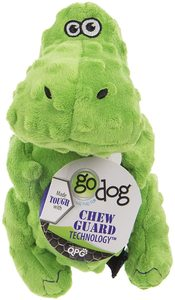 Godog Dinos T-Rex With Chew Guard Technology Durable Plush Squeaker Dog Toy Green Mini 1pc
