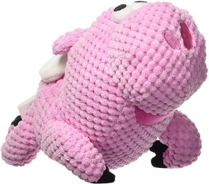 Godog Checkers Flying Pig With Chew Guard Technology Durable Plush Squeaker Dog Toy Pink Mini 1pc