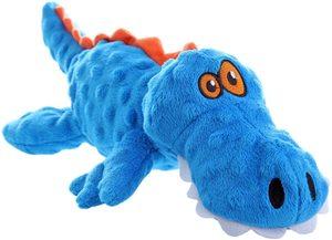 Godog Gators With Chew Guard Technology Durable Plush Squeaker Dog Toy Blue Mini 1pc