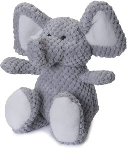 Godog Checkers Elephant With Chew Guard Technology Durable Plush Squeaker Dog Toy Gray Large 1pc
