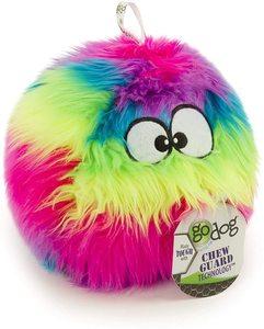 Godog Furballz With Chew Guard Technology Durable Plush Squeaker Dog Toy Rainbow Large 1pc