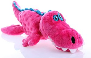 Godog Gators With Chew Guard Technology Durable Plush Squeaker Dog Toy Pink Large 1pc