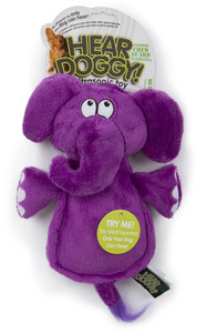 Hear Doggy Flattie Elephant With Chew Guard Technology And Silent Squeak Technology Plush Dog Toy 1pc