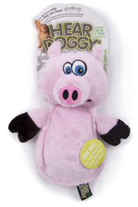 Hear Doggy Flattie Pig With Chew Guard Technology And Silent Squeak Technology Plush Dog Toy 1pc
