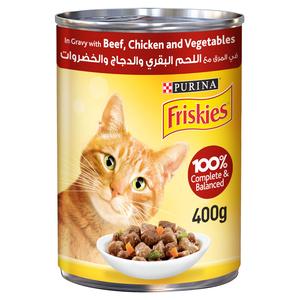 Purina Friskies Beef Chicken & Vegetables In Gravy Wet Cat Food 400g