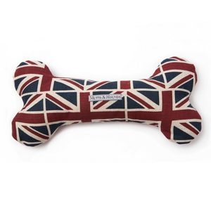Mutts & Hounds Union Jack Linen Squeaky Bone Toy 1pc