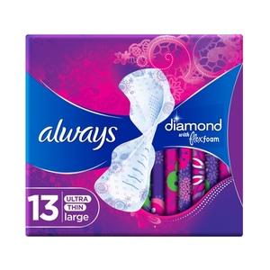 Always Diamond Flexfoam Large Sanitary Pads With Wings 13pcs