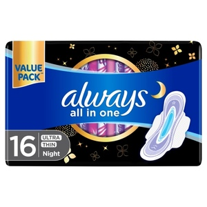 Always All In One Ultra Thin Night Sanitary Pads With Wings 16pcs