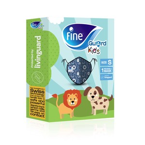 Fine Guard Kids Face Mask Reusable Face Mask with Livinguard Technology Blue Limited Edition Size Small 40s