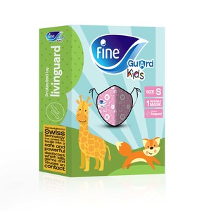 """Fine Guard Kids Face Mask Reusable Face Mask with Livinguard Technology Pink Limited Edition Size Small"""" 40s"""