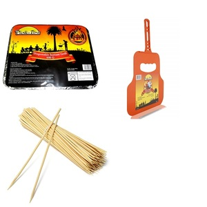 Disposable Grill With Traditional Barbeque Fan & Barbeque Bamboo Sticks 600g+30cms