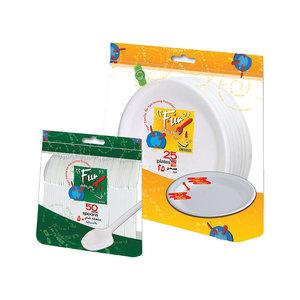 Fun Disposable Promo Pack - Foam Plate&  Napkin Plastic Fork With Plastic Spoon 20pcs