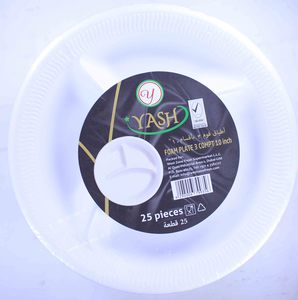 """Yash Foam Plate With Compartment 10"""" - 25pcs"""