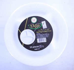 """Yash Foam Plate With Compartment 9""""-25pcs"""