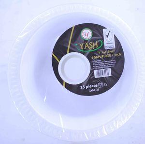 """Yash Foam Plate White 7""""- 25pcs"""