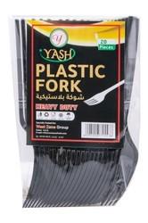 Yash Premium Plastic Fork Black 20pcs