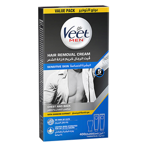 Veet Men Hair Removal Cream With Ginseng Extract For Chest & Back Sensitive Skin 400ml