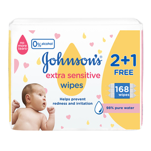 Johnson's Baby Wipes Extra Sensitive 98% pure water 168s