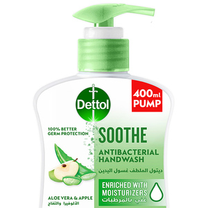 Dettol Soothe Handwash Liquid Soap Pump Aloe Vera & Apple Fragrance 400ml