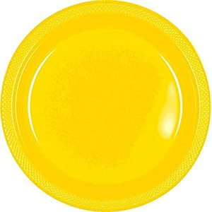 Fun Plastic Plate Yellow 25cm - 10pcs