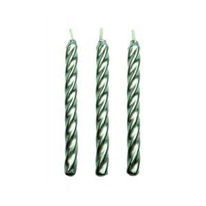 PME Silver Twist Candles w Holders Set 10pcs