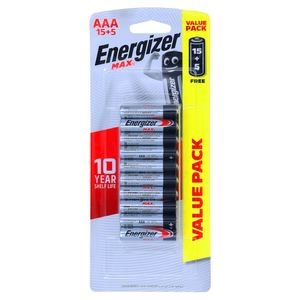 Energizer Max Alkaline Battery AAA 15+5 1pack