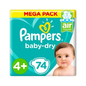 Pampers Baby-Dry Diapers Size 4+ Maxi Plus 10-15 Kg Giant Pack 74pc
