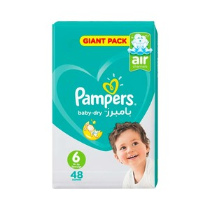 Pampers Baby-Dry Diapers Size 6 Extra Large 13+Kg Giant Pack 48pc