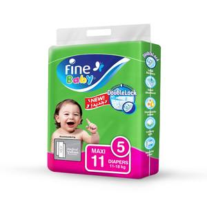 Fine Baby Diapers DoubleLock Technology Size 5 Maxi 11 to 18kg 11s
