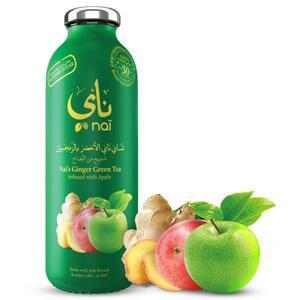 Nai's Ginger Apple Green Tea 100% Natural Glass Bottle 473ml