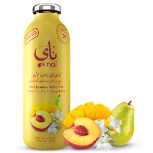 Nai's Peach Mango Jasmine Iced Tea 100% Natural Glass Bottle 473ml