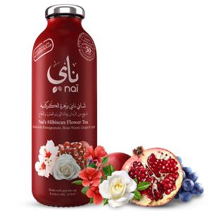 Nai's Hibiscus Pomegranate Rose Iced Tea 100% Natural Glass Bottle 473ml