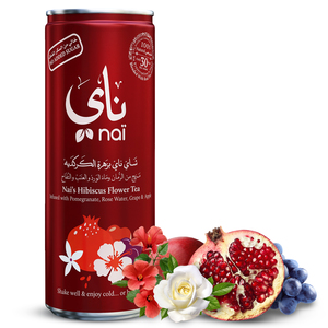 Nai's Hibiscus Pomegranate Rose Iced Tea 100% Natural Can 4x250ml