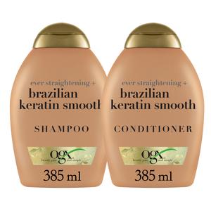Ogx Shampoo Brazilian Keratin With Conditioner 385ml+385ml